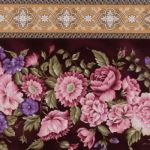 Giselle Garden Trellis Borderstripe  Ruby 947-1: No Cuts over 1.5 yards