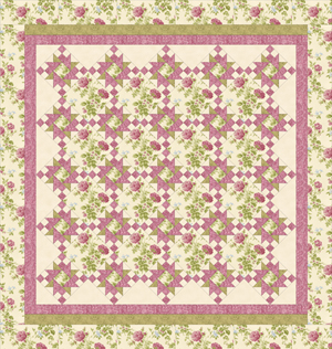 ROSE APPLE COTTAGE BUTTERMILK Queen Size Complete Quilt Kit