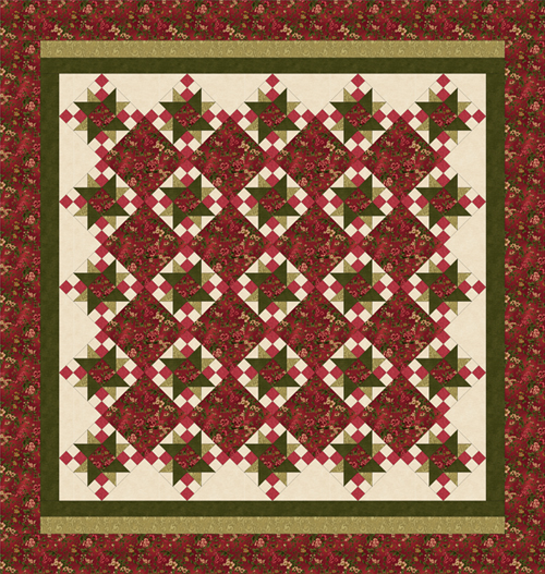 ROSE APPLE COTTAGE Queen Size Quilt Complete Quilt Kit