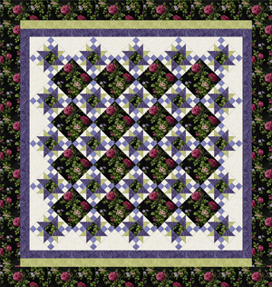 ROSE APPLE COTTAGE BLACK-PURPLE Queen Size Complete Quilt Kit