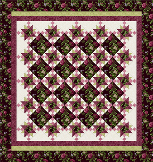 ROSE APPLE COTTAGE BURGUNDY Queen Size Complete Quilt Kit