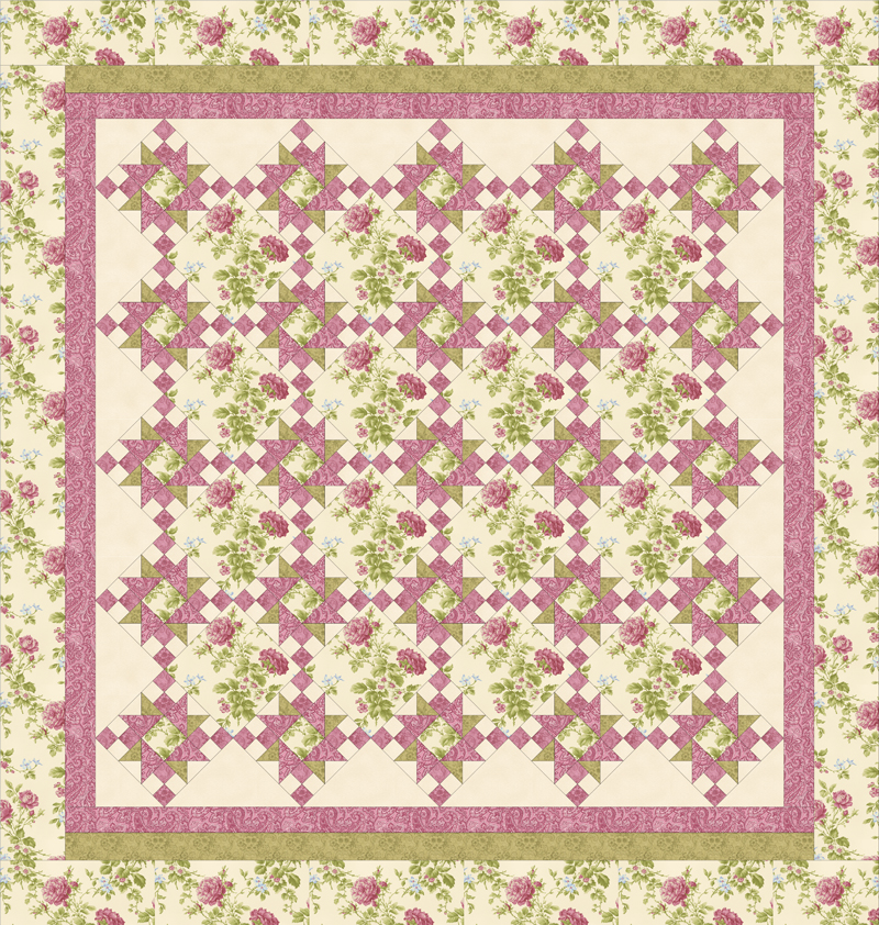 ROSE APPLE COTTAGE Queen Size Complete Quilt Kit