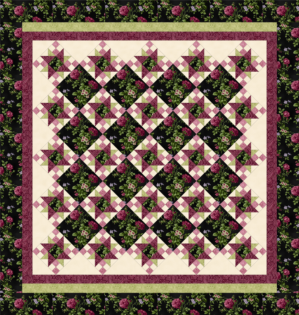 ROSE APPLE COTTAGE BLACK-ROSE/PINK Queen Size Complete Quilt Kit