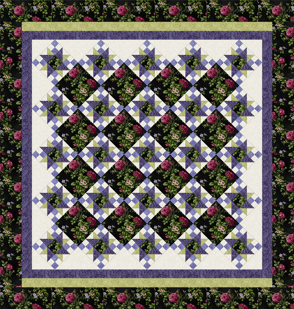 ROSE APPLE COTTAGE BLACK-PURPLE Queen Size Quilt Top Kit