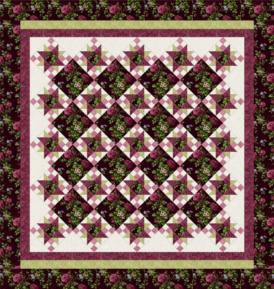 ROSE APPLE COTTAGE BURGUNDY Queen Size Quilt Top Kit