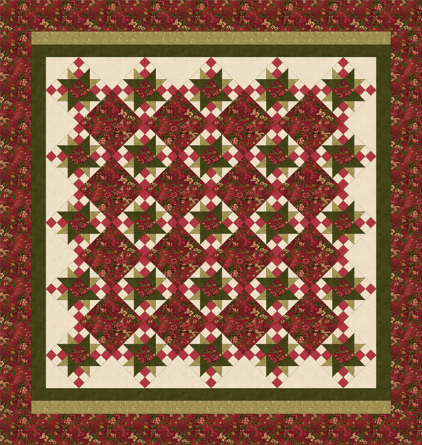 ROSE APPLE COTTAGE Queen Size Quilt Pattern