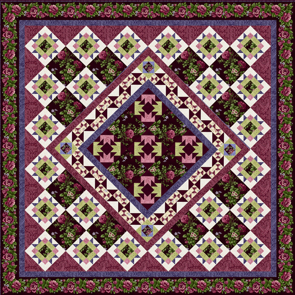 Harlow Garden Song Quilt Top Kit Burgundy
