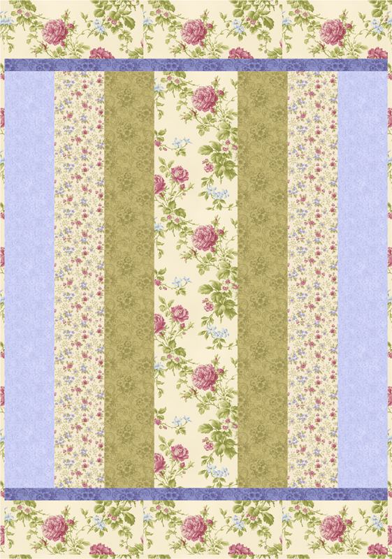 Sweet Dreams Complete Quilt  Kit CREAM-Blue/Purple