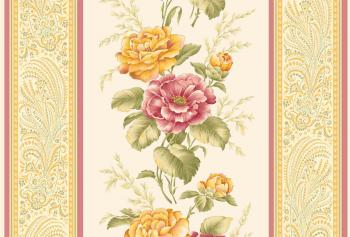 OUT OF PRINT Laurel Cottage Border Stripe PYellow/Pink 1174-77
